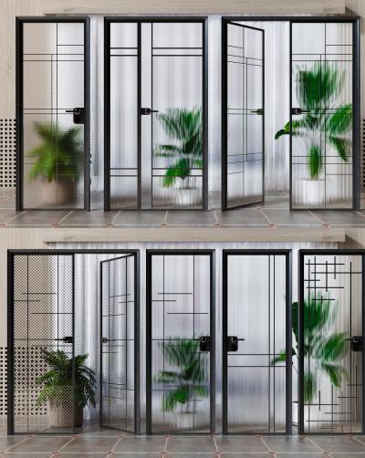 現代玻璃门组合