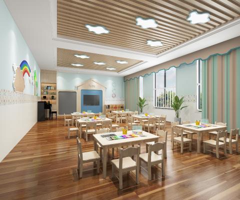 现代幼儿园教室 吸顶灯 桌椅