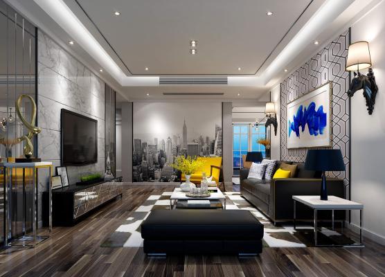后现代客厅 沙发