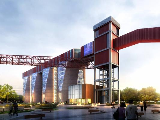 现代钢厂 工业厂房 设备建筑
