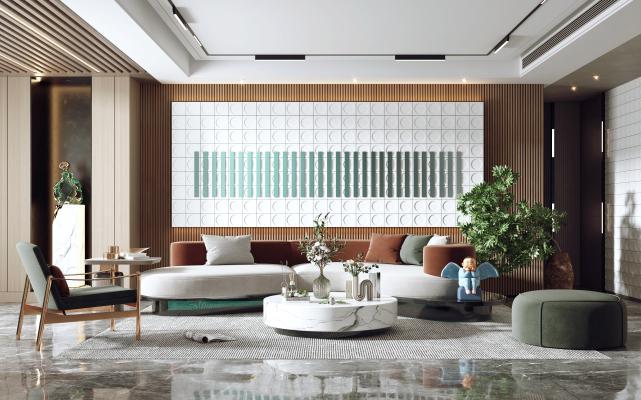 现代客厅 沙发茶几组合 陈设 摆件