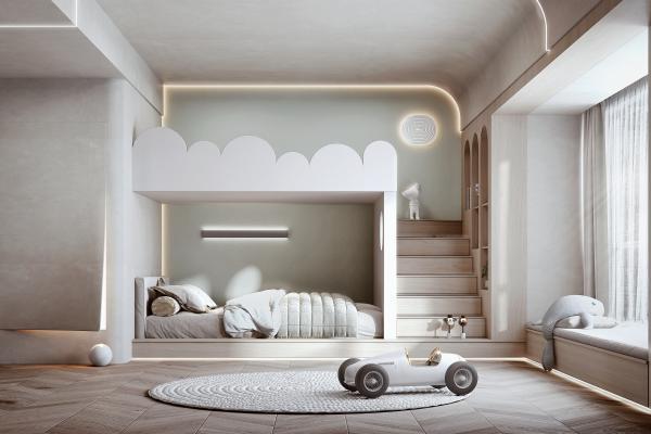 侘寂風格兒童房 上下鋪兒童床 壁燈