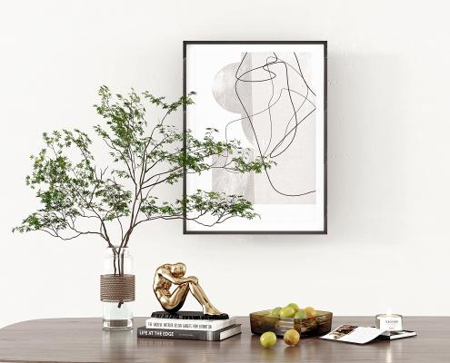 現代綠植,花瓶,雕塑,水果,果盤,擺件