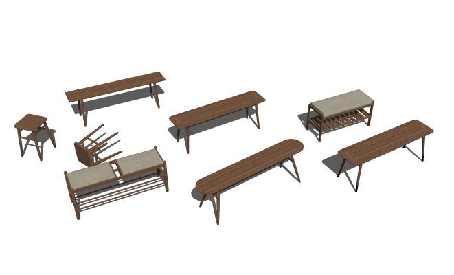 新中式矮凳组合