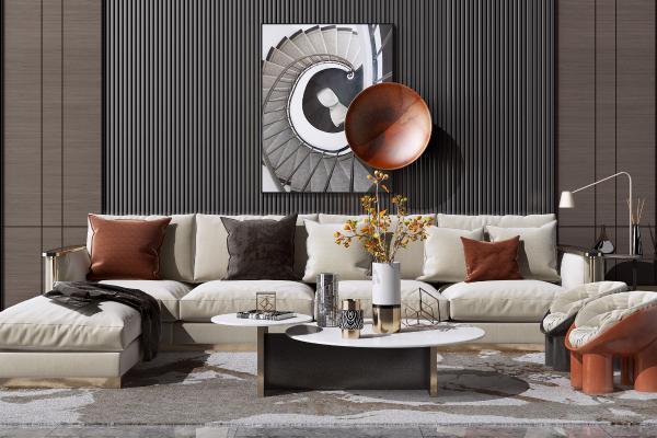 現代輕奢轉角布藝沙發茶幾組合 地毯 花瓶