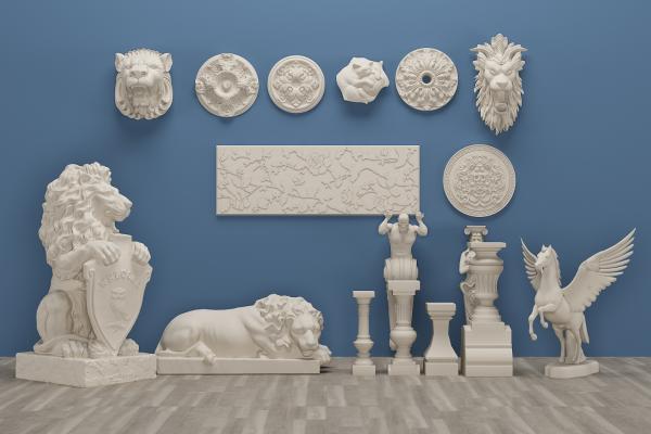 欧式罗马柱飞马雕花角线石膏构件
