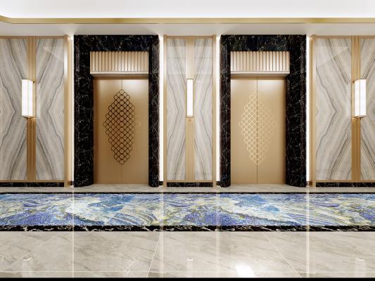 新中式酒店电梯厅 走廊