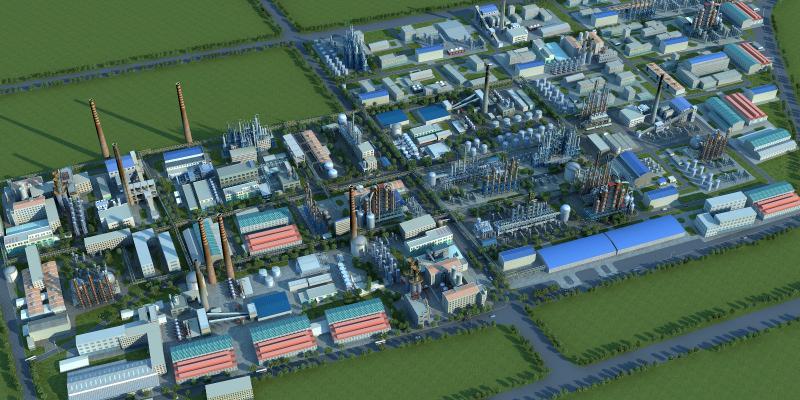 现代化工厂鸟瞰 厂房 发电厂