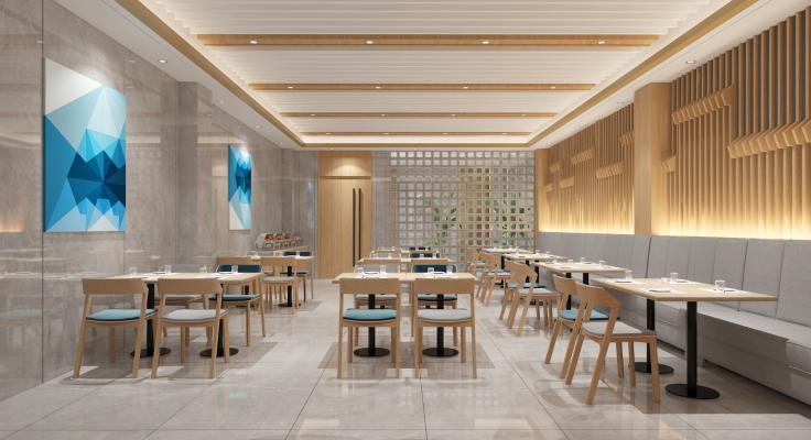 现代自助餐厅 挂画 餐桌椅