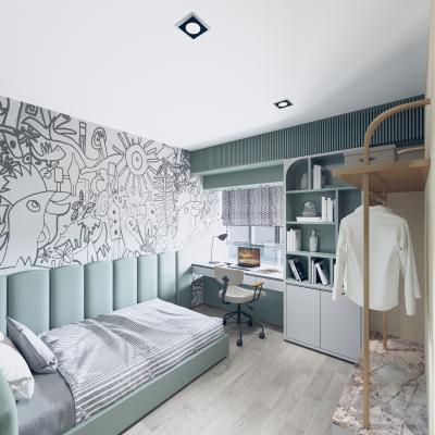 现代儿童房 床
