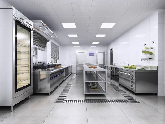 现代饭店厨房 厨房用品组合 酒店后厨