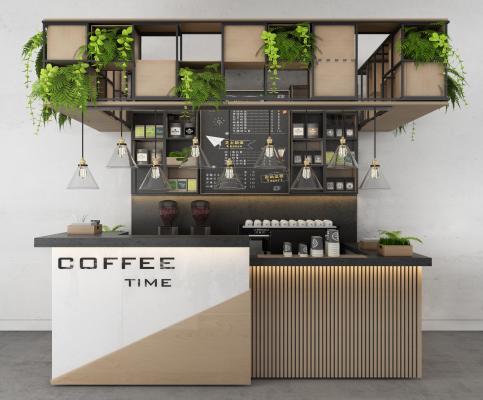 工业风咖啡厅 吧台 咖啡机