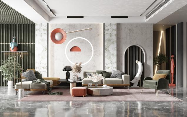 現代客廳 沙發茶幾組合 陳設擺件 背景墻