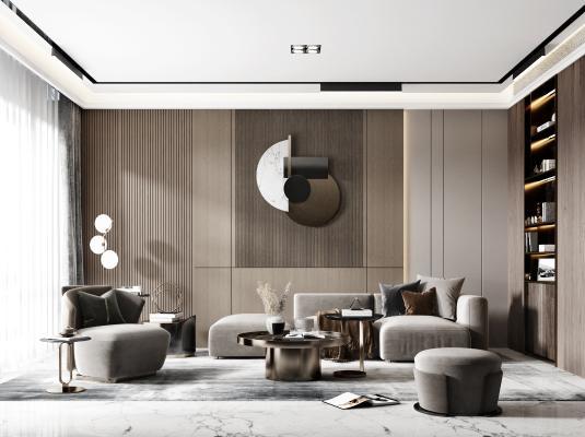 现代客厅 沙发组合 休闲椅 茶几 落地灯 装饰柜 装饰品