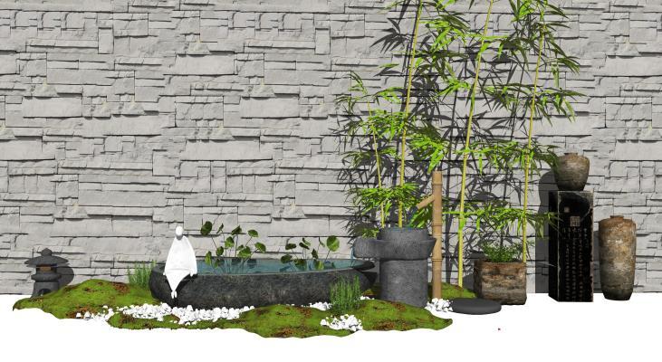 新中式庭院景观 景观小品 石磨水景