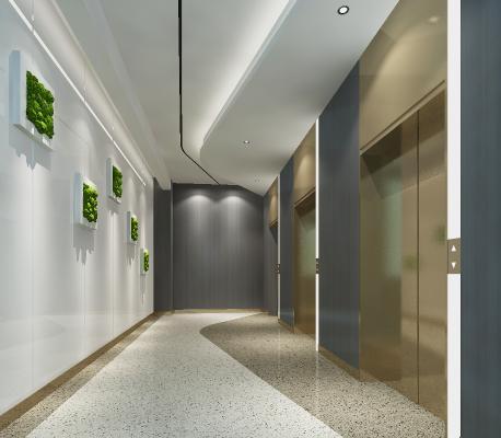 现代电梯间 绿植墙 电梯