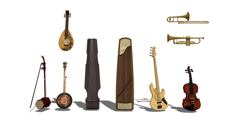 现代古筝喇叭二胡乐器组合