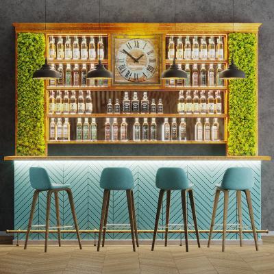现代酒水吧台 吧椅组合 酒瓶