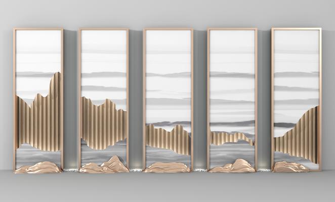 新中式假山山水花格背景