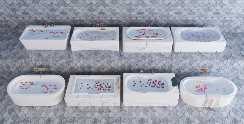 现代卫生间嵌入式浴缸 五金件组合
