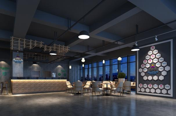工業風公司休息區 辦公大廳 茶水區