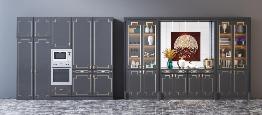 新中式酒柜餐边柜组合 摆件 装饰品