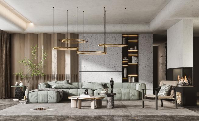 現代客廳 沙發茶幾組合