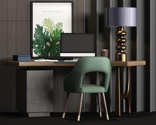 新中式实木金属书桌 写字台 电脑饰品组合