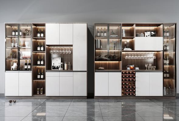 现代酒柜组合 酒瓶 装饰品