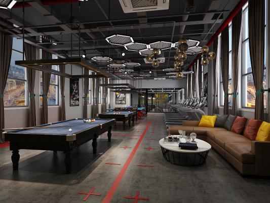 工业风健身房 台球桌 乒乓球桌 沙发