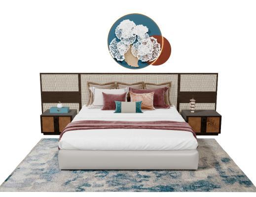 新中式双人床 床头柜 抱枕 地毯 藤编背景墙 陶瓷