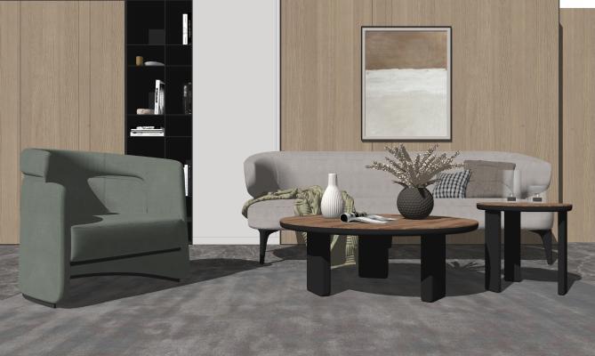 现代轻奢客厅 茶几沙发组合 挂画