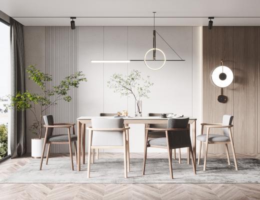 北欧餐厅 餐桌椅 盆栽