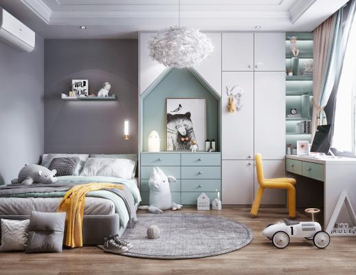 现代风格儿童房 床 书桌