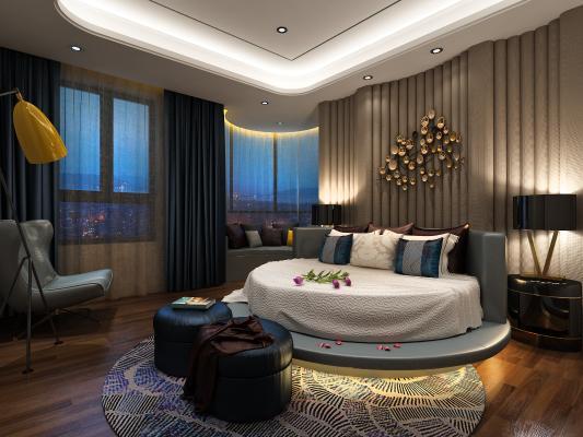 卧室 床 窗帘 吊灯 圆床