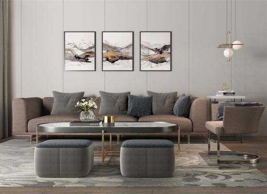 现代三人沙发 单人沙发 茶几 矮凳