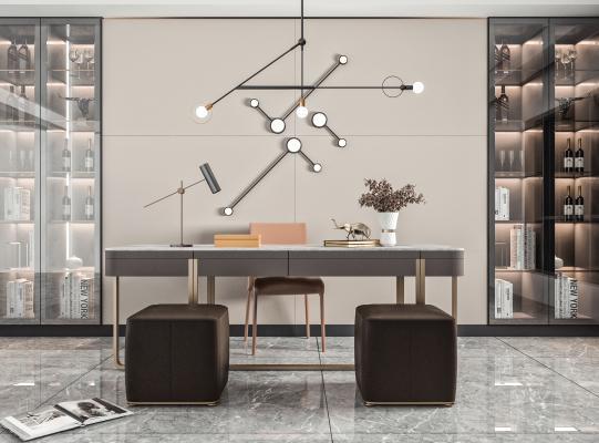 现代风格书桌椅 吊灯