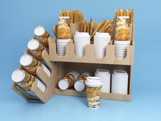 现代奶茶杯架 奶茶杯 吸管
