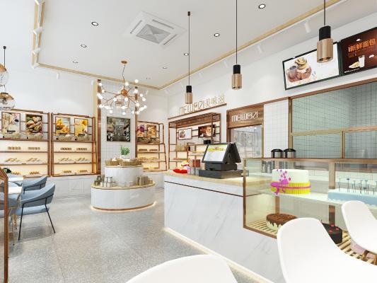 现代甜品店 吊灯 挂画