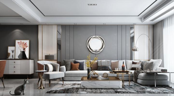 现代风格客餐厅 组合沙发 餐桌组合