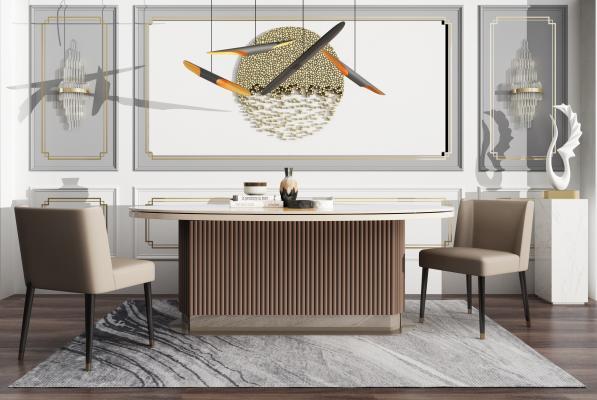 现代餐厅 餐桌 餐椅 壁灯