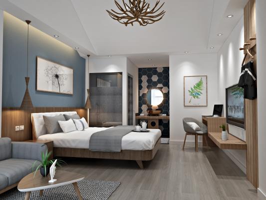 北欧风格客房双人床