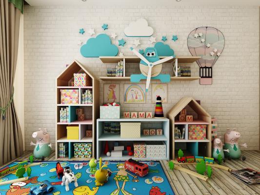 现代儿童玩具边柜陈设品组合