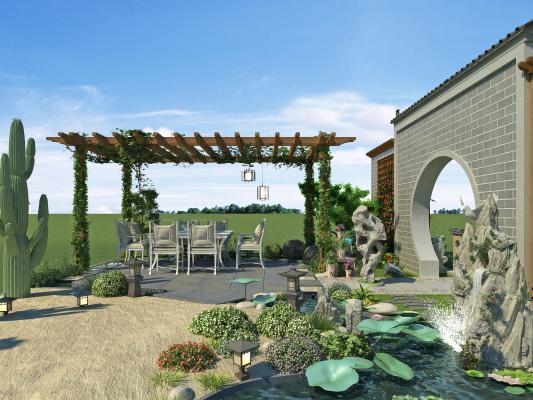 现代庭院 廊架 水池