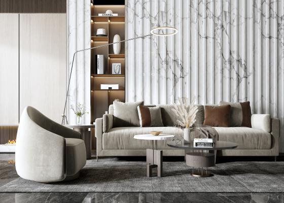 现代沙发组合 椅子 单人沙发 茶几 落地灯 背景墙
