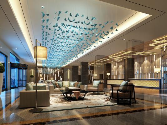 新中式酒店大堂 休息区 吧台