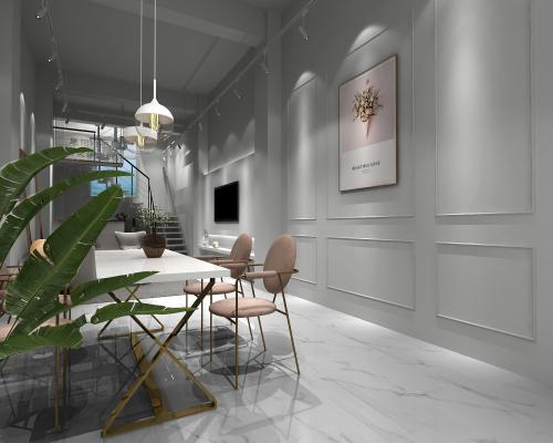 现代美甲店 接待区 沙发 网红椅