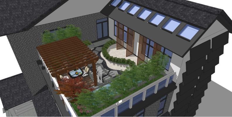 中式别墅屋顶花园