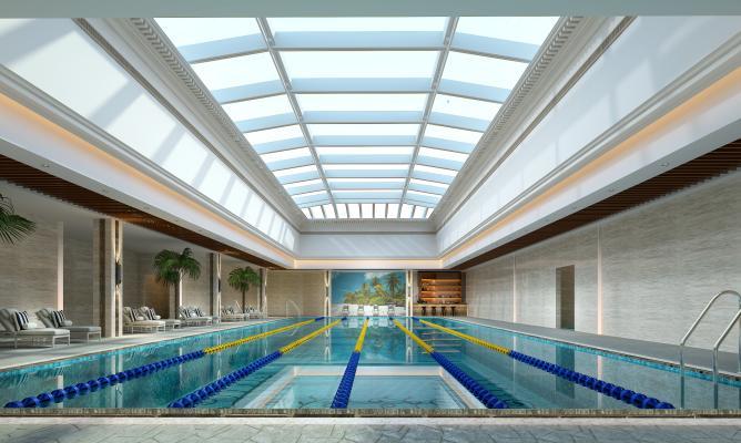 现代游泳馆 游泳池 躺椅