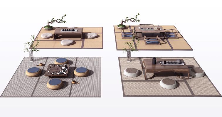 新中式茶桌组合 榻榻米坐垫